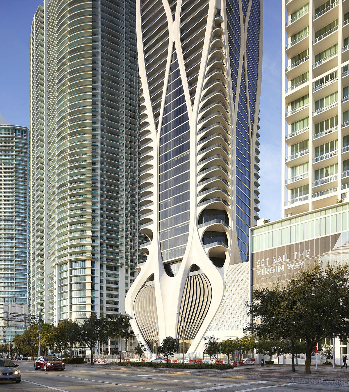 Zaha Hadid Architects recently completed One Thousand Museum has been photographed by architectural photographer Hufton + Crow in Miami, FL