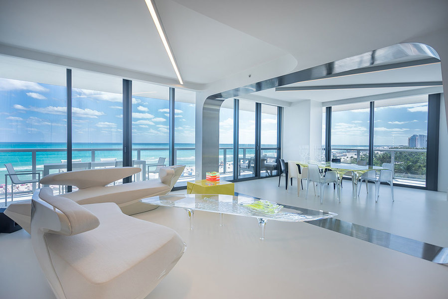 South Beach the late architect redesigned the three-bedroom apartment is listed for $10 million at the W. Hotel